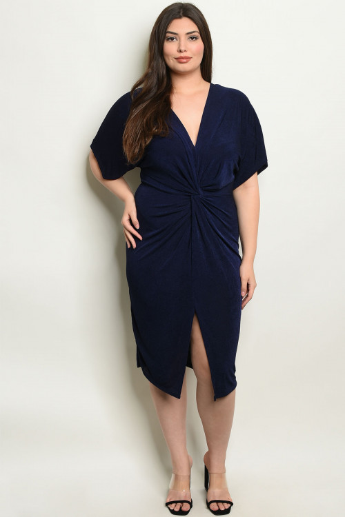 C93-A-6-D7854X NAVY PLUS SIZE DRESS 2-2-2