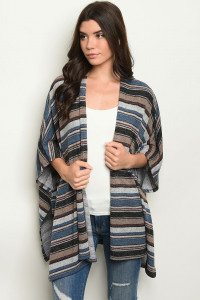 C53-A-6-C3020 BLUE BLACK STRIPES CARDIGAN 3-3