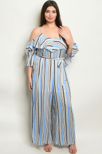 S8-5-3-NA-J19984X BLUE STRIPES PLUS SIZE JUMPSUIT 2-2-2