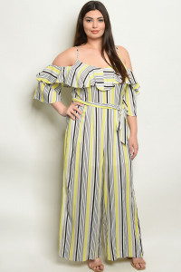 S4-7-4-NA-J19984X YELLOW STRIPES PLUS SIZE JUMPSUIT 2-2-2