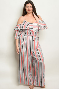 S4-7-4-NA-J19984X CORAL STRIPES PLUS SIZE JUMPSUIT 2-2-2