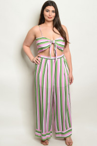 S3-7-3-SET19420X PINK GREEN STRIPES PLUS SIZE TOP & PANTS 2-2-2
