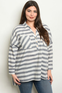 S9-1-3-NA-T19060 NAVY STRIPES PLUS SIZE TOP 2-2-2