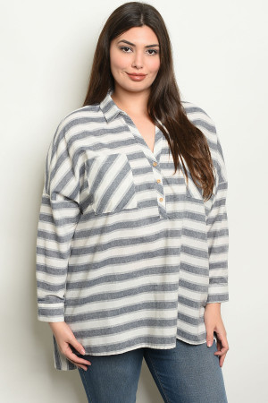 S23-8-3-NA-T19060 NAVY STRIPES PLUS SIZE TOP 3-2-2