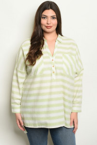 S10-2-4-NA-T19060 LIME STRIPES PLUS SIZE TOP 2-2-2