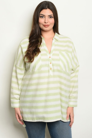 S23-8-3-NA-T19060 LIME STRIPES PLUS SIZE TOP 3-2-2