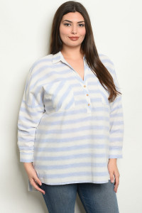 S11-10-2-NA-T19060 BLUE STRIPES PLUS SIZE TOP 2-2-2