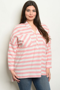 S11-10-2-NA-T19060 ROSE STRIPES PLUS SIZE TOP 2-2-2