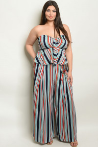 S3-10-2-NA-SET19371X NAVY AQUA STRIPES PLUS SIZE TOP & PANTS SET 2-2-2