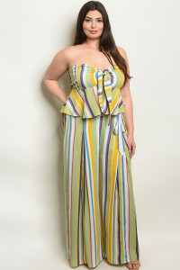 S3-8-2-NA-SET19371X LIME YELLOW STRIPES PLUS SIZE TOP & PANTS SET 2-2-2