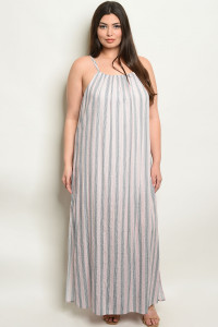 SA4-5-3-NA-D19630X PINK STRIPES PLUS SIZE DRESS 2-2-2