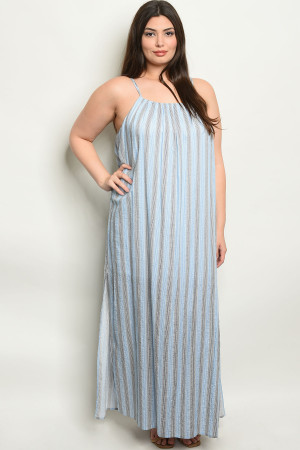 S4-9-2-NA-D19630X BLUE STRIPES PLUS SIZE DRESS 2-2-2