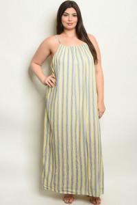 S12-5-3-NA-D19630X YELLOW STRIPES PLUS SIZE DRESS 2-2-2