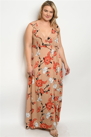 S22-10-1-NA-D11006X TAUPE FLORAL PLUS SIZE DRESS 2-3-2