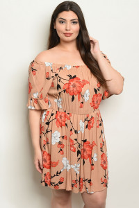 S19-12-5-NA-D10986X TAUPE FLORAL PLUS SIZE DRESS 2-2-2
