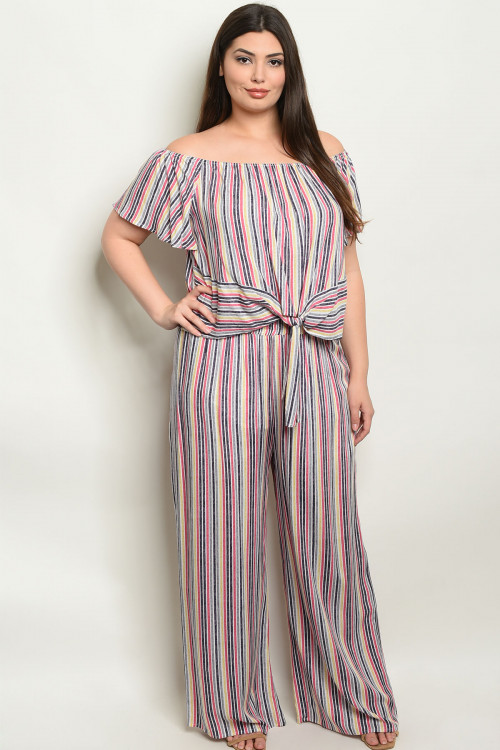 S9-1-4-SET19851X PINK STRIPES PLUS SIZE TOP & PANTS SET 2-2-2