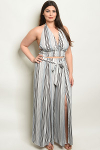 S9-4-4-NA-SET18536X GRAY STRIPES PLUS SIZE TOP & PANTS SET 2-2-2