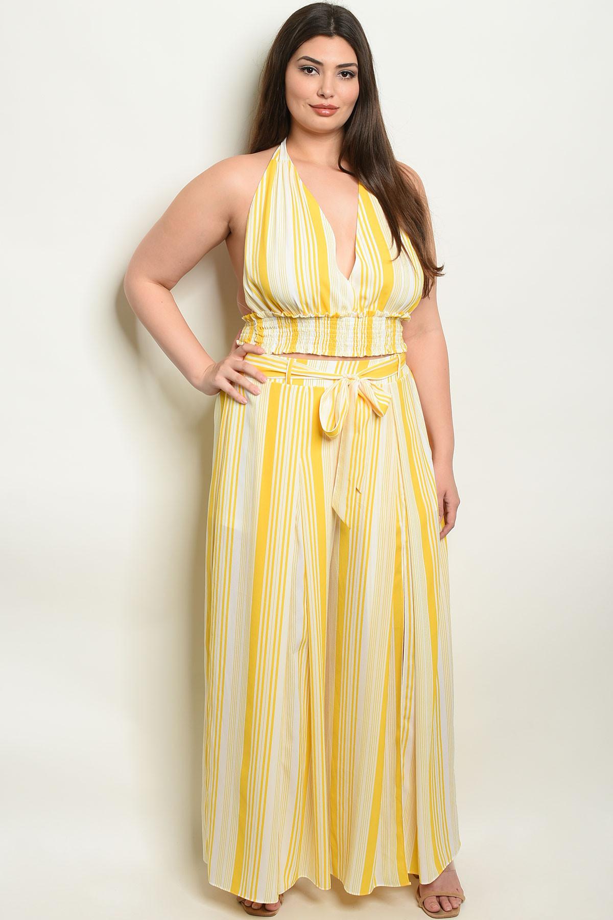 79bf7872a s21-10-3-na-set18536x yellow stripes plus size top & pants set 2-2-2