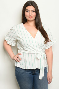 SA4-6-4-NA-T19068X IVORY JADE STRIPES PLUS SIZE TOP 2-2-2