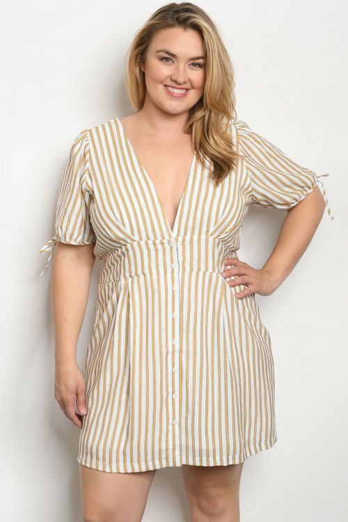 S25-7-5-D19537X MUSTARD STRIPES PLUS SIZE DRESS 2-2-2