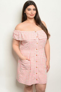 S21-10-2-D19331X ROSE CHECKERED PLUS SIZE DRESS 2-2-2