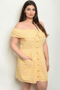 S23-5-1-NA-D19331X YELLOW CHECKERED PLUS SIZE DRESS 2-2-2
