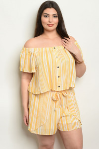 S23-4-4-NA-SET19862X MUSTARD STRIPES PLUS SIZE TOP & SHORTS SET 2-2-2