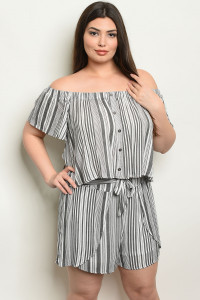 S15-3-3-NA-SET19862X BLACK STRIPES PLUS SIZE TOP & SHORTS SET 2-2-2