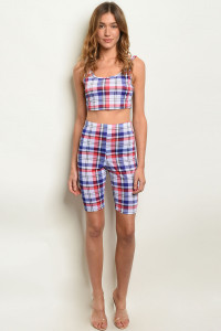 C81-B-6-SET5072 BLUE CHECKERED TOP & SHORTS SET 2-2-2