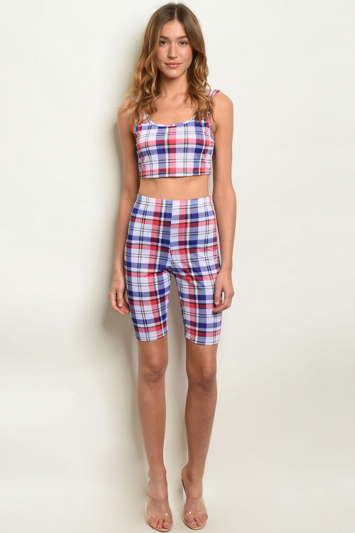 C78-B-1-SET5072 BLUE CHECKERED TOP & SHORTS SET 2-1-1