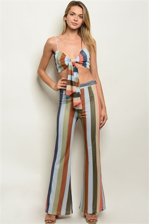 S18-3-3-SET4612 OLIVE MULTI STRIPES TOP & PANTS SET 1-2
