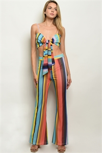 S17-2-1-SET4612 BLUE MULTI STRIPES TOP & PANTS SET 1-1-1