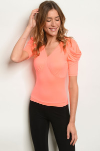 C92-B-6-T4539 NEON CORAL TOP 2-2-2