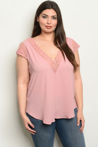 C64-B-7-T0928X MAUVE PLUS SIZE TOP 2-2-2
