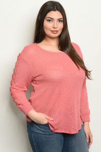C68-B-4-T0860X CORAL PLUS SIZE TOP 2-2-2