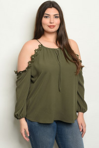 C72-B-3-T9892X OLIVE PLUS SIZE TOP 2-2-2