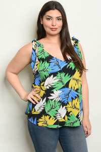 C76-B-6-T1176X BLACK WITH LEAVES PRINT PLUS SIZE TOP 2-2-2