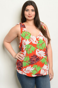 C78-B-2-T1176X RED WITH LEAVES PRINT PLUS SIZE TOP 2-2-2