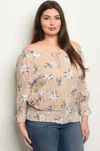 S17-8-5-T94836X TAUPE STRIPES WITH FLOWER PLUS SIZE TOP 1-1-1