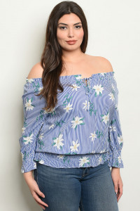 S4-2-3-T94836X BLUE STRIPES WITH FLOWER PLUS SIZE TOP 2-2-2
