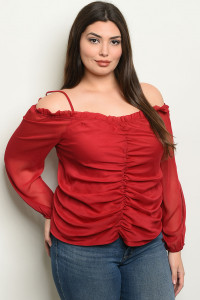 SA4-0-1-T10089X BURGUNDY PLUS SIZE TOP 2-2-2