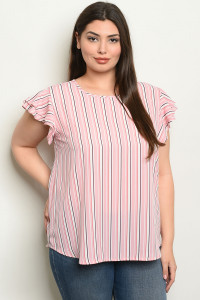 S24-3-5-T96571X PINK STRIPES PLUS SIZE TOP 2-2-2