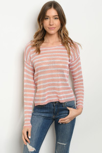 S23-4-3-T0061 PINK STRIPES TOP 3-2-1
