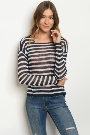 S9-12-2-T0061 NAVY STRIPES TOP 3-2-1