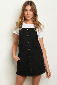 S10-1-1-O0020 BLACK DENIM OVERALL DRESS 2-2-2