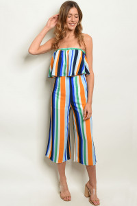 C61-A-1-SET0006 MULTI COLOR STRIPES TOP & PANTS SET 4-2-1