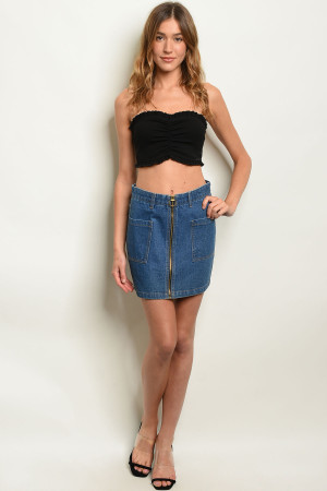 S19-2-2-S3051 BLUE DENIM SKIRT 3-2-1