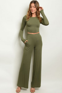 C87-A-5-SET1230 OLIVE TOP & PANTS SET 2-2-2