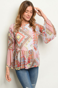 C35-B-3-T1921-A RED PAISLEY PRINT TOP 2-2-2