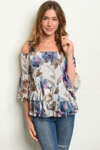 C35-B-7-T1856 OFF WHITE NAVY FLORAL TOP 2-2-2